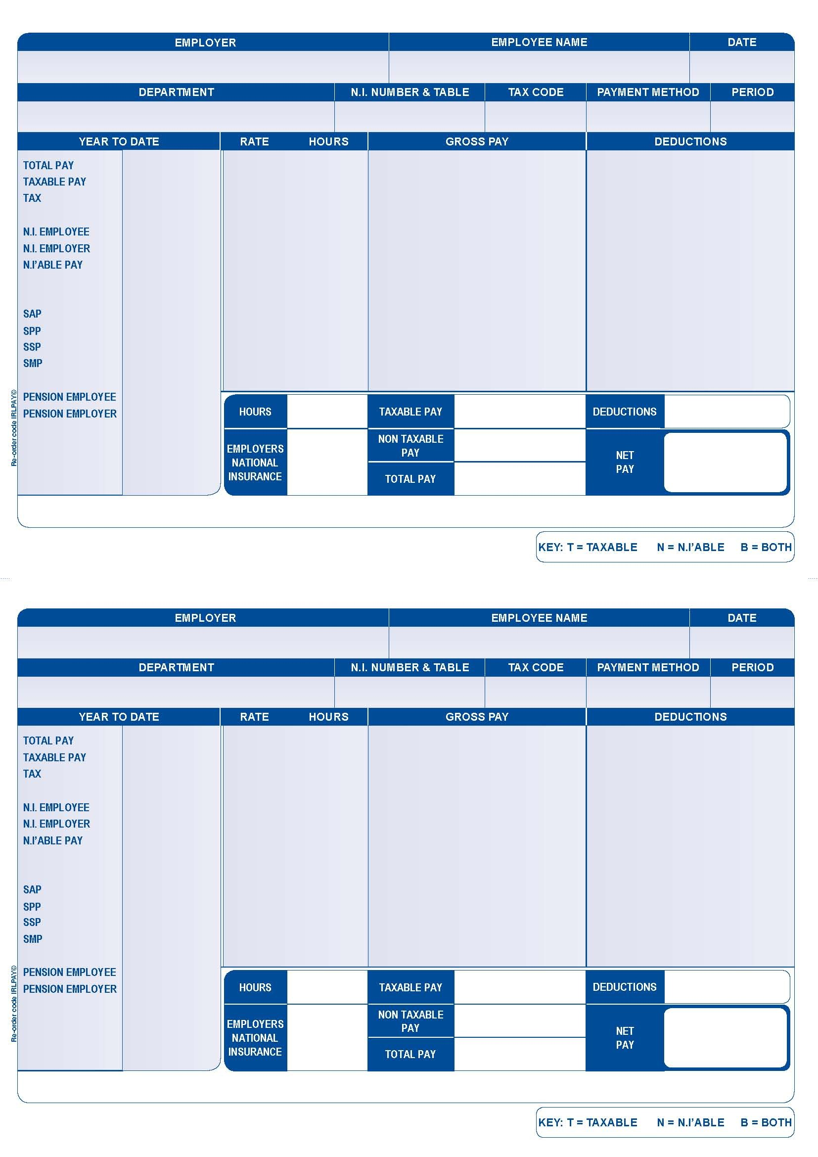 Original Forms For Iris/Intex Payroll Software  Free Payslip Template Uk